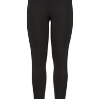 The Skinny Knit Pant With Faux Leather Seam - Black