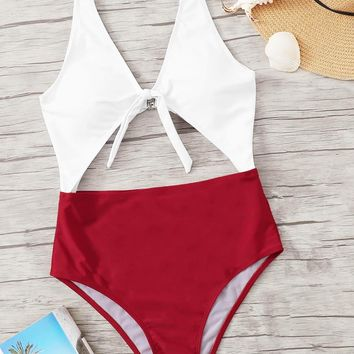 Cut-out Two Tone One Piece Swimsuit
