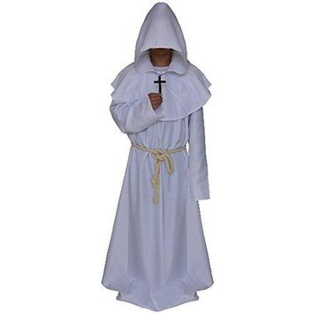 LETSQK Men's Friar Medieval Hooded Monk Priest Robe Tunic Halloween Cosplay Costume