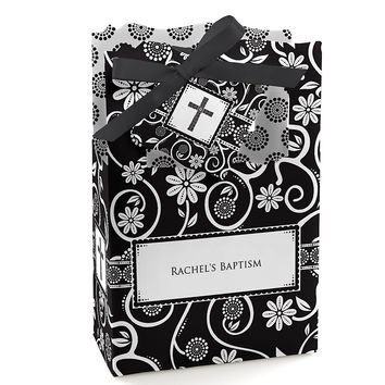 Modern Floral Black & White Cross - Personalized Baptism Favor Boxes
