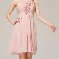 Rose Shoulder Cocktail Wedding Party Chiffon Ruffle Dress
