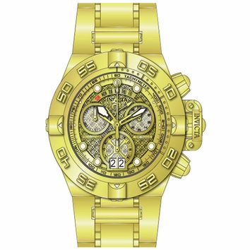 Invicta 14497 Men's Subaqua Noma IV Gold Tone Dial Gold Plated Steel Bracelet Chronograph Dive Watch