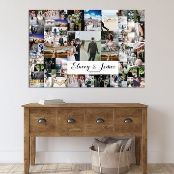 Family Photo Print Wall Art Canvas Family Collage Custom Pictures Collage Personalized Wall Decor Family Sign, 100 Wedding Photo Print