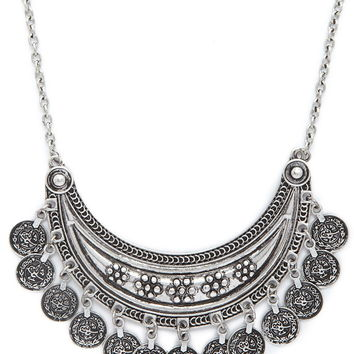 Coin Charm Statement Necklace
