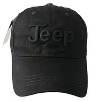 Jeep Unisex Solid Color Adjustable Cutton Baseball Cap Outdoor Sunhat,Black