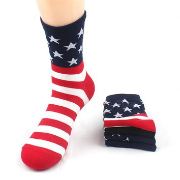 fashion Colorful men socks high quality 4pairs/lot cotton men stripe long socks autumn-winter Male national flag sock