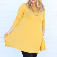 Simple & Sweet Dress With Pockets ~ Mustard ~ Sizes 12-18