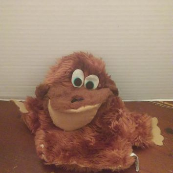 vintage russ berrie brown gonga monkey ape plush hand puppet