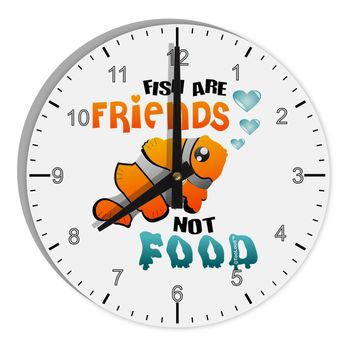 """Fish Are Friends Not Food 8"""" Round Wall Clock with Numbers"""