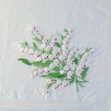 Vintage Handkerchief Hankie Embroidered White Bleeding Hearts Bouquet