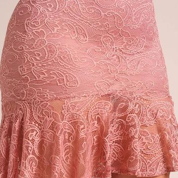 Better In Lace Curvy/Plus High Low Skirt