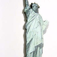 Statue of Liberty lady liberty NYC freedom wood brooch badge pin jewelry accessory