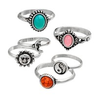 Mudd Textured Peace Sign, Sun & Moon Ring Set (Grey)