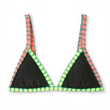 Women's Crochet Trim Triangle Bikini Top - Xhilaration™