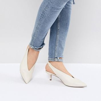 Office Miranda White Sling Back Kitten Heeled Shoes at asos.com