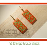 12 Orange Grove street - Wooden Hand Painted Earrings, Jewelry, Jewellery, Wood Earrings, Houses Earrings, Fluorescent orange earrings