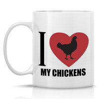 I Heart my Chickens Coffee Mug - Nice hen coffee mug for a chicken lover - chicken mug