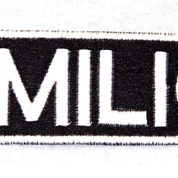 Emilio Black on White Name Badge Iron on Patch for Biker Vest and Jacket NB216