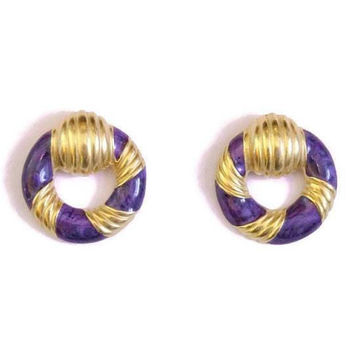 1980's Circle Earrings, Purple Enamel And Gold Tone