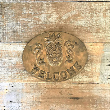 Welcome Sign Brass Pineapple Welcome Sign Brass Welcome Sign Wall Plaque Brass Pineapple Wall Hanging Mid Century Welcome Sign Farmhouse