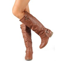 Top Moda Women's Coco-1 Tan Knee High Motorcycle Riding Boots