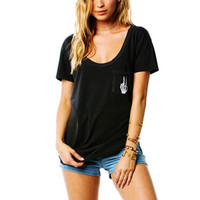 Women Back Letters Print Short Sleeve T Shirt O Neck Ladies Summer Pocket Black Tees