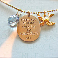 Beach Love Jewelry - Gold Mixed charm necklace with Ralph Waldo Emerson quote