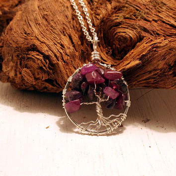 Petite Sterling Silver Tree Of Life Ruby Necklace On Sterling Chain Wire Wrapped Pendant Jewelry July Birthstone -Birthstone Series