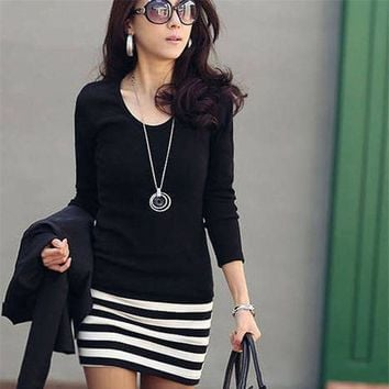 ESBONC. New Casual Summer Women Dress Sexy Lady Long Sleeve Crew Neck Striped Slim Fit Party Mini Dress Beach Dresses Female Vestidos