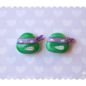 Kawaii Donatello handmade stud earrings - TMNT / Teenage Mutant Ninja Turtles tribute