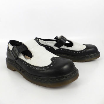 Dr Martens Shoes Mary Janes 1990 Doc Black and White Leather Made in England UK size 7 US size 9