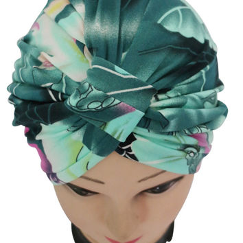2016 New Vintage Dark Green Floral Print Indian Turban Hat For Women Ladies