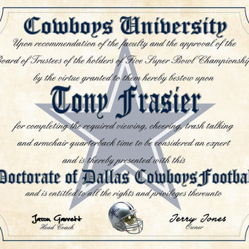 "Dallas Cowboys Ultimate Football Fan Personalized Diploma - Perfect Gift - 8.5"" x 11"" Parchment Paper"