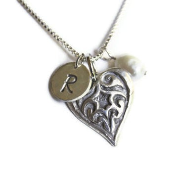 Initial Necklace, Monogram Jewelry, Personalized Heart Pendant, Pearl Necklace