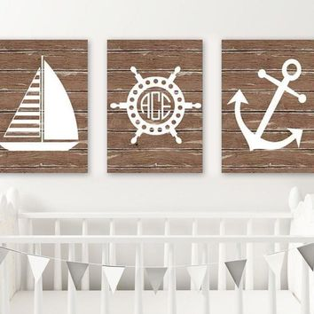 Nautical Nursery Wall Art, CANVAS or Print, Nautical Bathroom Decor, Wood Effect Nautical Monogram Nursery, Anchor Sailboat Wheel Set of 3