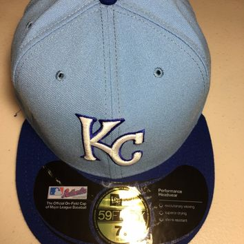 NEW ERA KANSAS CITY ROYALS RETRO ONFIELD 5950 TWO TONE FLAT BRIM FITTED HAT