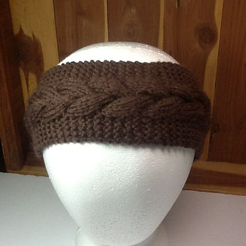 Cable Knit Headband, washable Merino wool in chocolate brown, fleece lined option, cozy ear warmer,  knitted headband