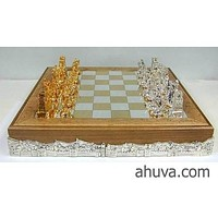 Silver Israeli Chess Sets - Bible, Shabbat Golf Doctor Chess Pieces
