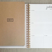 "2017 planner | weekly calendar | weekly agenda book,  gold wire binding, kraft cover, 5.5"" x 8.5"""