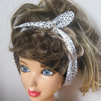 Hair Scarf, Bandana, Hair Bandana, Bandana Headband, Black n White Print , Hair Band, PinUp Bandana, Knotted HairBand, Boho Head Band #305