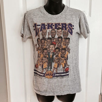 Vintage 1992 Los Angeles Lakers caricature t-shirt NBA basketball 50/50