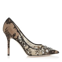 Black Lace and Mesh Pointy Toe Pumps with Jewelled Stones | Lyzo 100 | Pre Fall 15 | JIMMY CHOO Shoes
