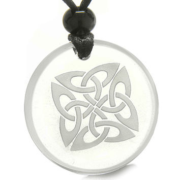 Amulet Life Protection Celtic Shield Knot Ancient Magic Crystal Quartz Pendant Necklace