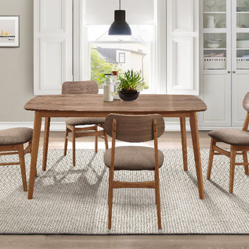 Home Elegance HE-5613-5PC 5 pc Stratus natural walnut finish wood mid century modern dining table set
