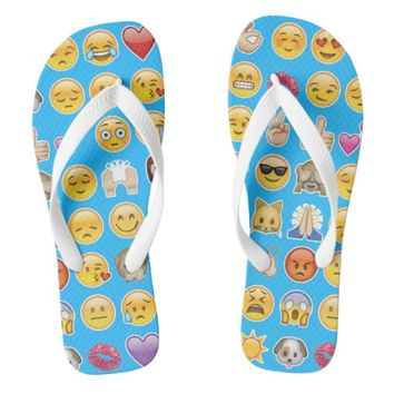 blue emoji flip flops sandals shoes