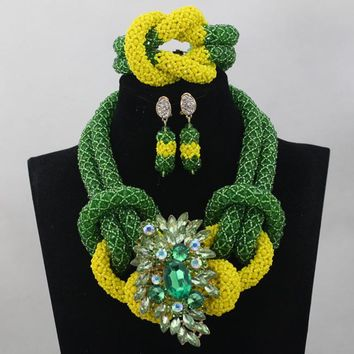 Latest Green and Yellow Chunky Bold Nigerian Jewelry Set Twisted Crystal Seed Beaded Necklace Jewelry Set Free Shipping WD529