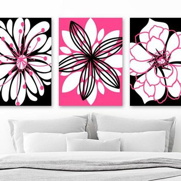 Hot Pink Black Flower Bedroom Wall Decor, Hot Pink Black Flower Bathroom Wall Art, Canvas or Prints, Pink Black Flower Pictures, Set of 3