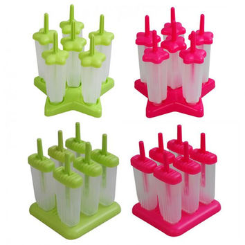 Ice Cream Popsicle Molds 6 Food Grade Safety PP Material DIY Red & Green (Square Star shape Bottom )