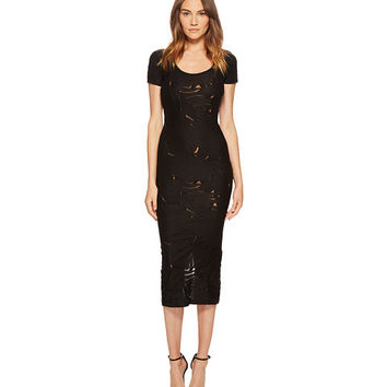 Versace Jeans Short Sleeve Sheer Designed Midi Dress