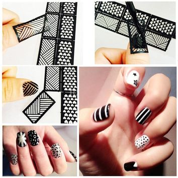 1Pcs New Fashion Stamping Tool Nail Art Hollow Stickers Stencil Nail Art Stickers DIY Nail Design Pattern Stickers Manicure